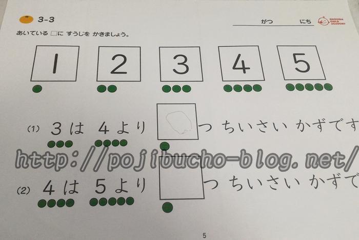 七田式チャイルドアカデミーの体験レッスンの計算プリント