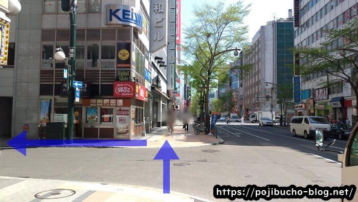 すすきの駅の3番出口から地上へ出て左へ進み、最初の横断歩道を渡らずに左折した画像