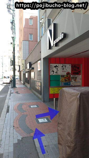 ドミニカ総本店が入居しているビルの前の歩道の画像