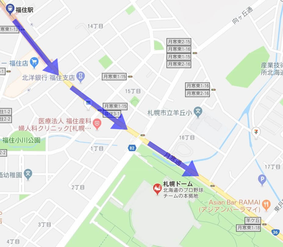 福住駅からラマイ本店までのマップ