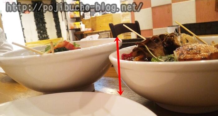 suage2のスープ大盛りと普通サイズの比較画像