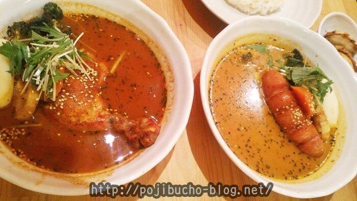 ヒリヒリ オオドオリの骨チキチキンカリーの辛さ5番とココナッツスープのフランクカリーの辛さ4番の比較画像