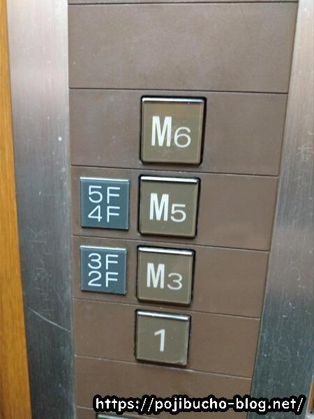 チュッタが入居しているビルのエレベーターのボタンの画像