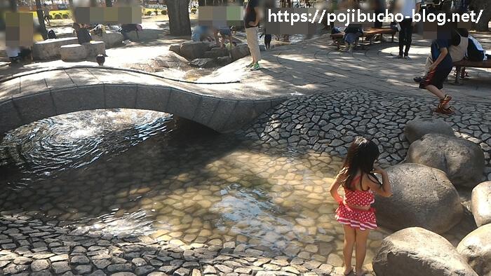 大通公園で水遊びの様子の画像