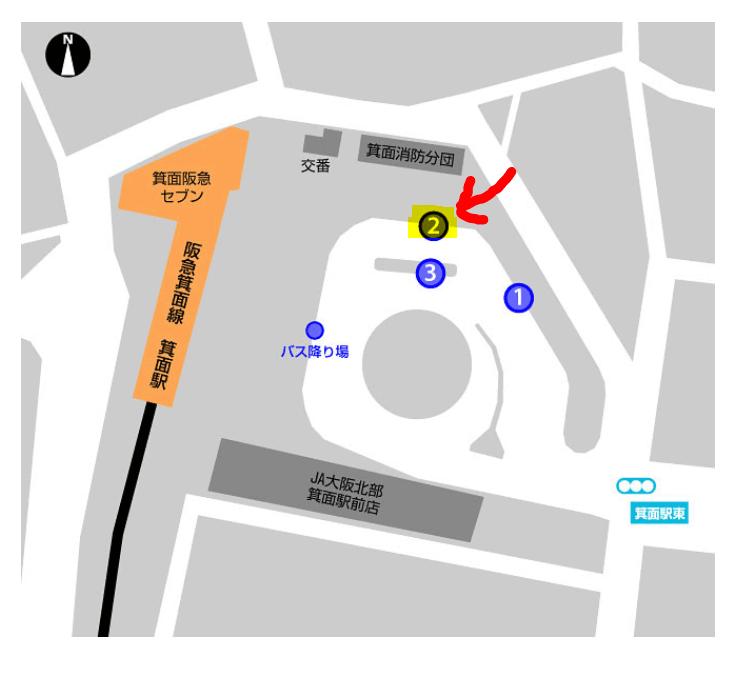 箕面駅の2番バス乗り場
