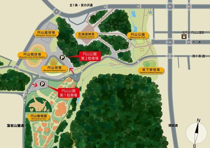 円山公園の駐車場マップ