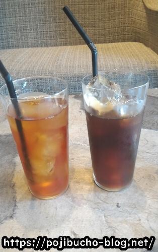 椿サロンのコーヒーとアイスティー