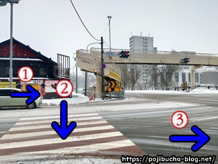 歩道橋と横断歩道