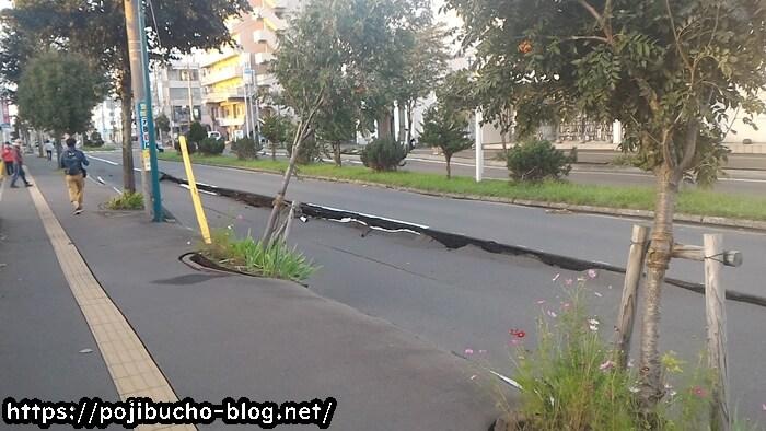 地震で植栽も倒れそう