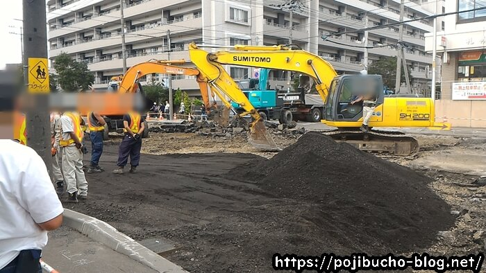 道路の修繕作業
