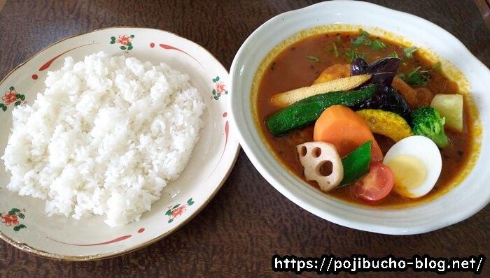 バズカリー花車のチキンと野菜のスープカレースペシャルとライス
