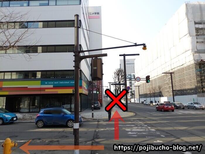 札幌ベルエポック製菓調理専門学校の手前の横断歩道の画像