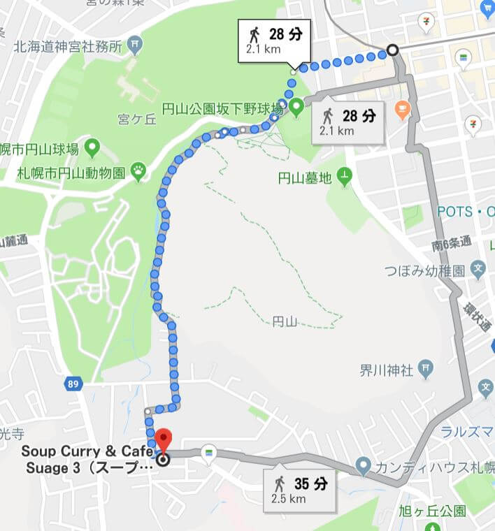 suage3の徒歩ルートを検索した画像