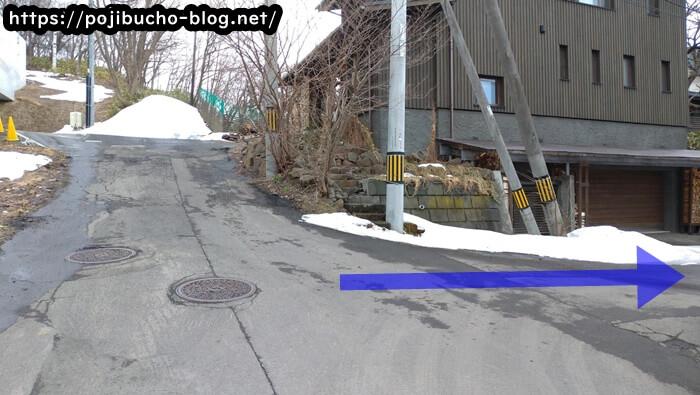 suage3へ向かう途中の突き当りの手前を右折した画像