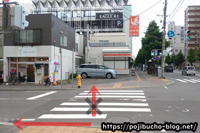 西屯田通りスープカレー本舗の手前の横断歩道の画像
